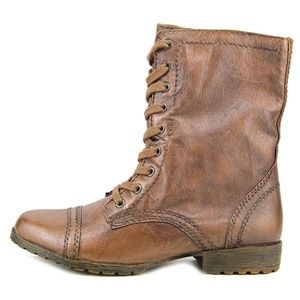 Nine West Haileigh brown leather combat boots 7